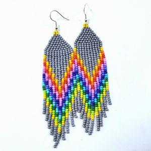 🌈 Grey Rainbow Long Fringe Seed Bead Earrings